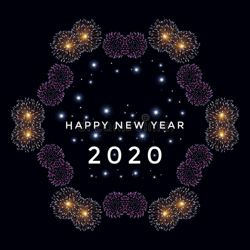 Happy new year 2020 card with sustainables fireworks isolated in black background royalty free illustration